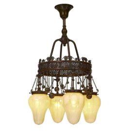 Tiffany Studios Moorish four-light chandelier
