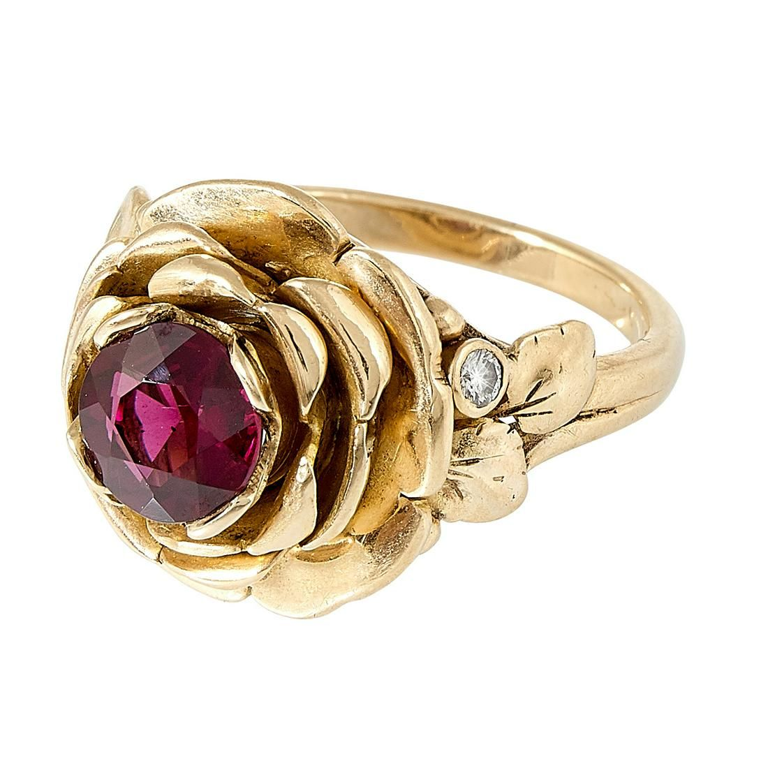 Edward Everett Oakes rose motif ladies ring