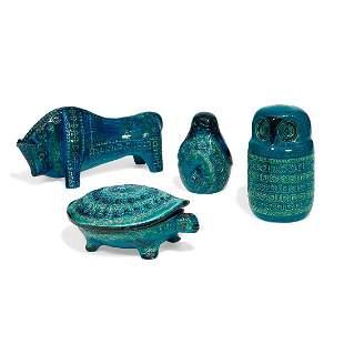 Aldo Londi for Bitossi, ceramic animals, four