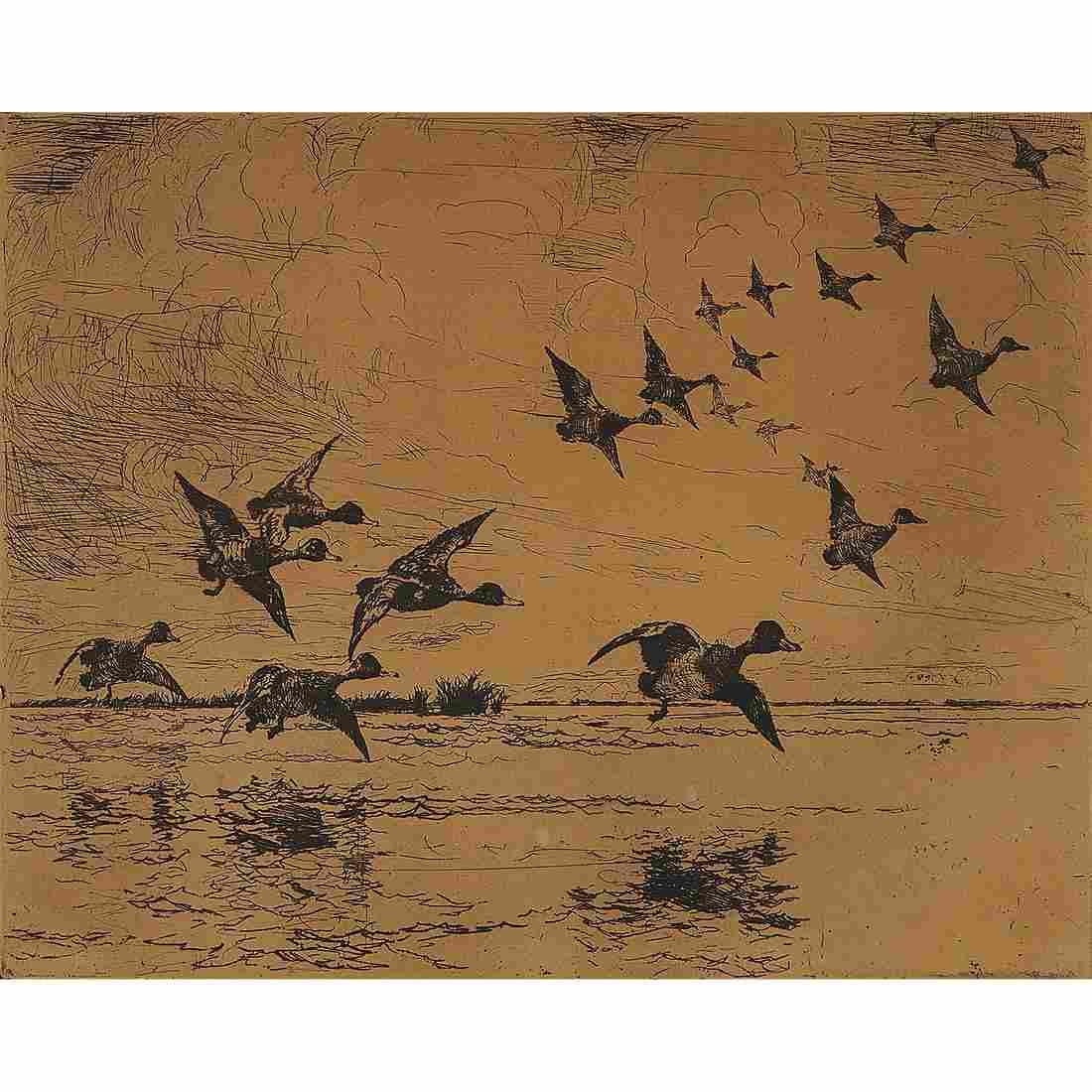 Frank Weston Benson, Ducks over Water, etching