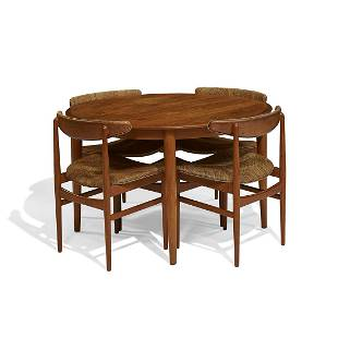 Poul Hundevad dining chairs, four, with Moreddi table