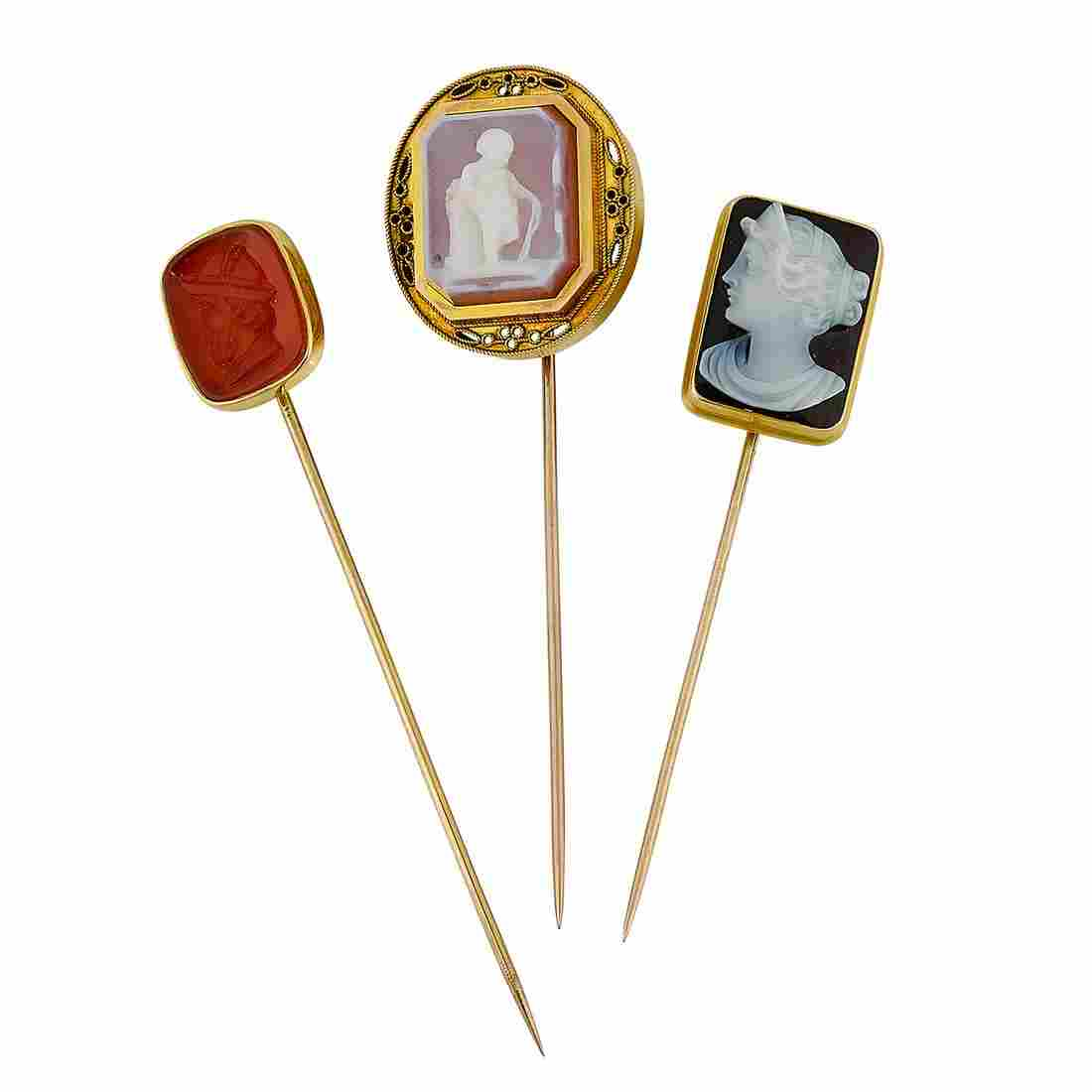 Antique / Victorian group of stick pins, three