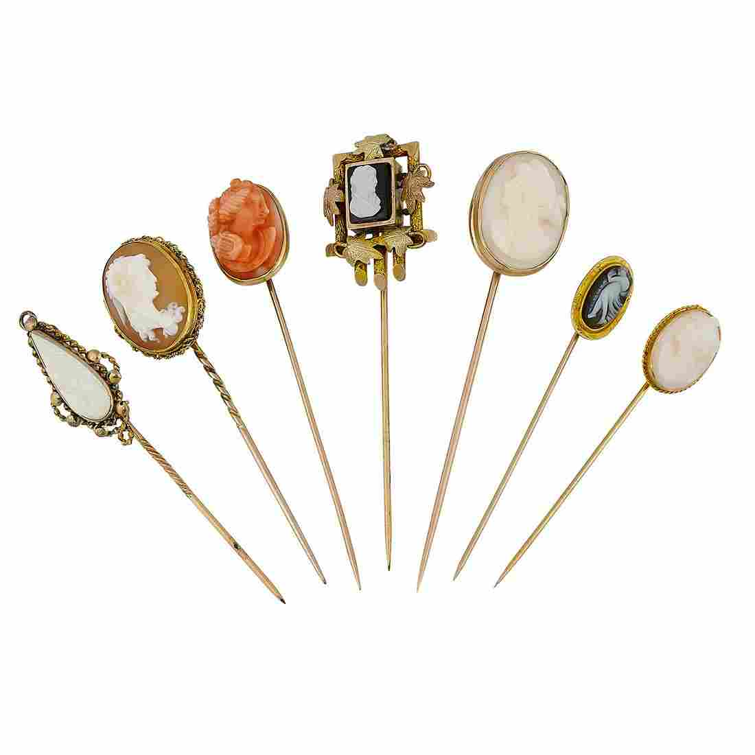 Mostly Victorian group of stick pins, seven