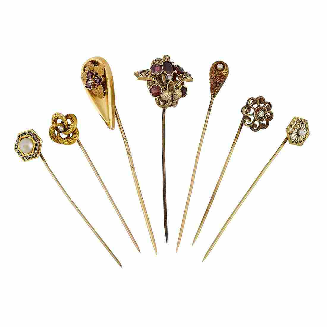 Victorian group of stick pins, seven
