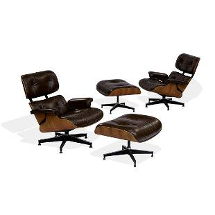Charles & Ray Eames lounge chairs & ottomans, pr