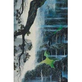 Eyvind Earle, Fantasy Landscape, oil on canvas