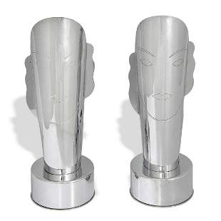Art Deco face table lamps, pair