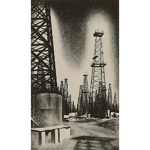 Louis Lozowick, Oil Country, 1936, lithograph