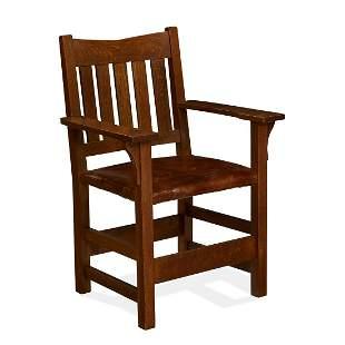 Gustav Stickley V-back armchair, #354