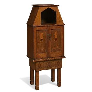 Stickley Brothers early inlaid two-door cabinet