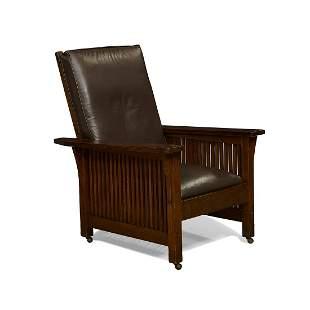 Gustav Stickley spindle Morris chair, #368