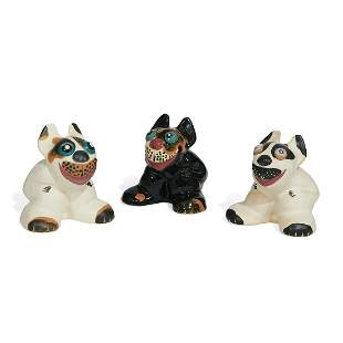 Weller Pottery Co. Pop Eye Dog figures, 3