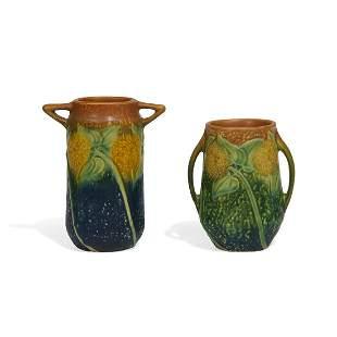 Roseville Pottery Co. Sunflower vases, two