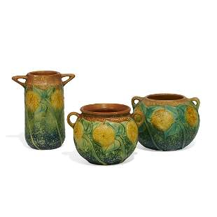 Roseville Pottery Co. Sunflower vases, three