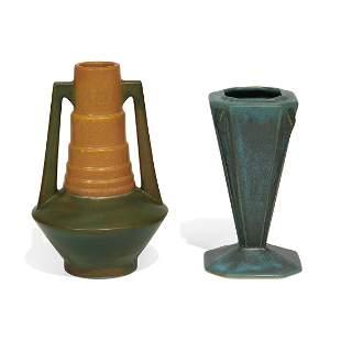 Roseville Pottery Co. Futura vases, two