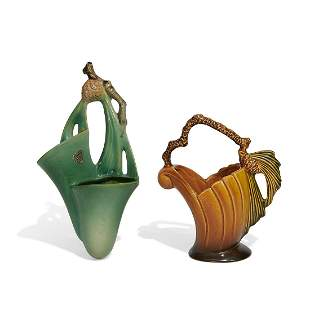 Roseville Pottery Co. wall pocket, and basket