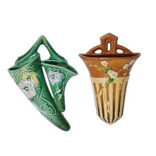 Roseville Pottery Co. wall pockets, 2