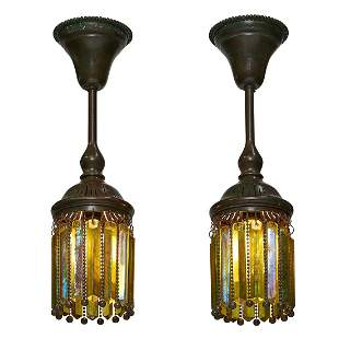 Tiffany Studios Moorish prism pendant lights, pr