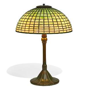 Tiffany Studios table lamp, Geometric shade