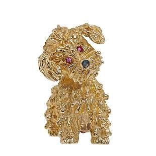 Vintage dog brooch / pin