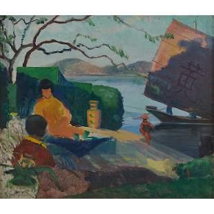 Henry Hanning, Asian Harbor, oil on canvas