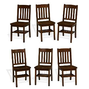 American Arts & Crafts side chairs, set of six