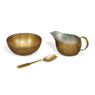 Craftsman Guild creamer, sugar and spoon