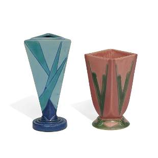 Roseville Pottery Co. Futura vases, two