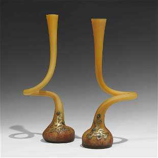 Art Nouveau Art Glass gooseneck vases, pair
