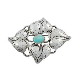 The Kalo Shop foliate puffy brooch