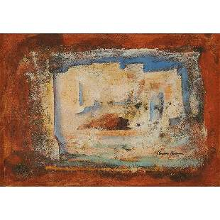 Sami Burhan, Abstraction, oil on paper