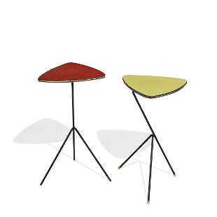 Maker Unknown side tables, two red, one yellow