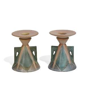Roseville Pottery Futura Aztec Lady candlesticks
