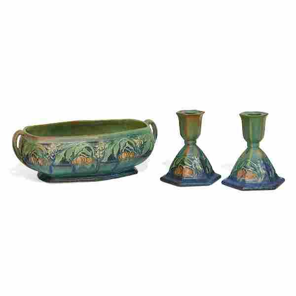 Roseville Pottery Co. Baneda console set