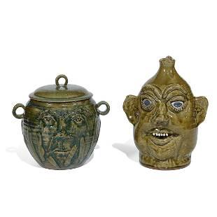 Sam Manno, face jug with an associated face jar