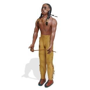 Folk Art over life-size Native American sculpture