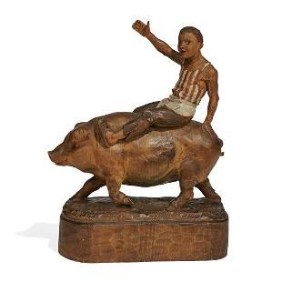 Folk Art figural sculpture of a young man & a pig