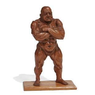 Emil Janel, A Bodybuilder, carved wood