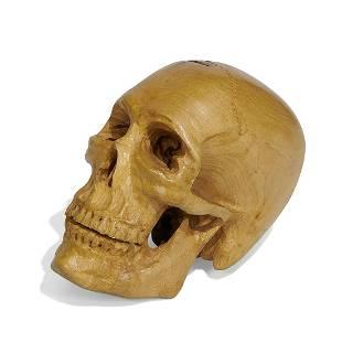 Folk Art carved wood life-size skull