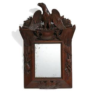 Civil War Era carved wood patriotic wall mirror