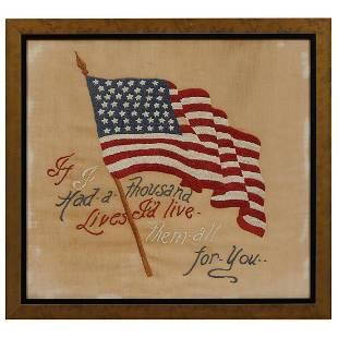 Folk Art, WWI Era needlework of the US flag