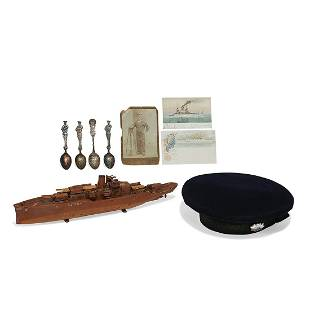 Folk Art / Naval Ephemera U.S.S. IL Naval items