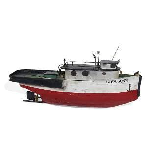 American Folk Art handmade tugboat, Lisa Ann