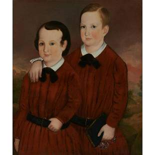 Artist Unknown, Folk Art Portrait, Young Brothers