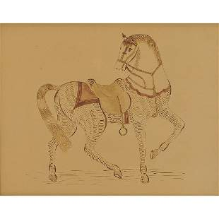 American Folk Art calligraphic drawing of a horse