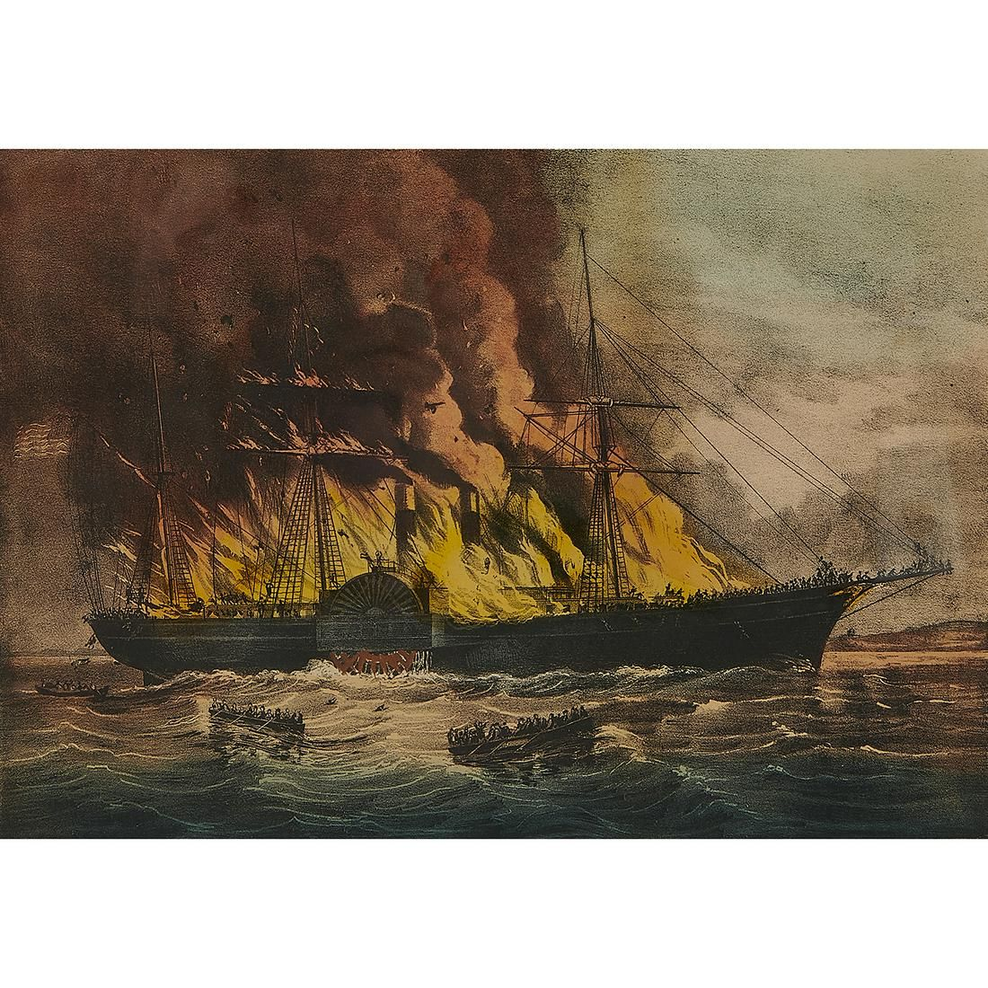 Currier & Ives, Burning of the Steamship, 1862