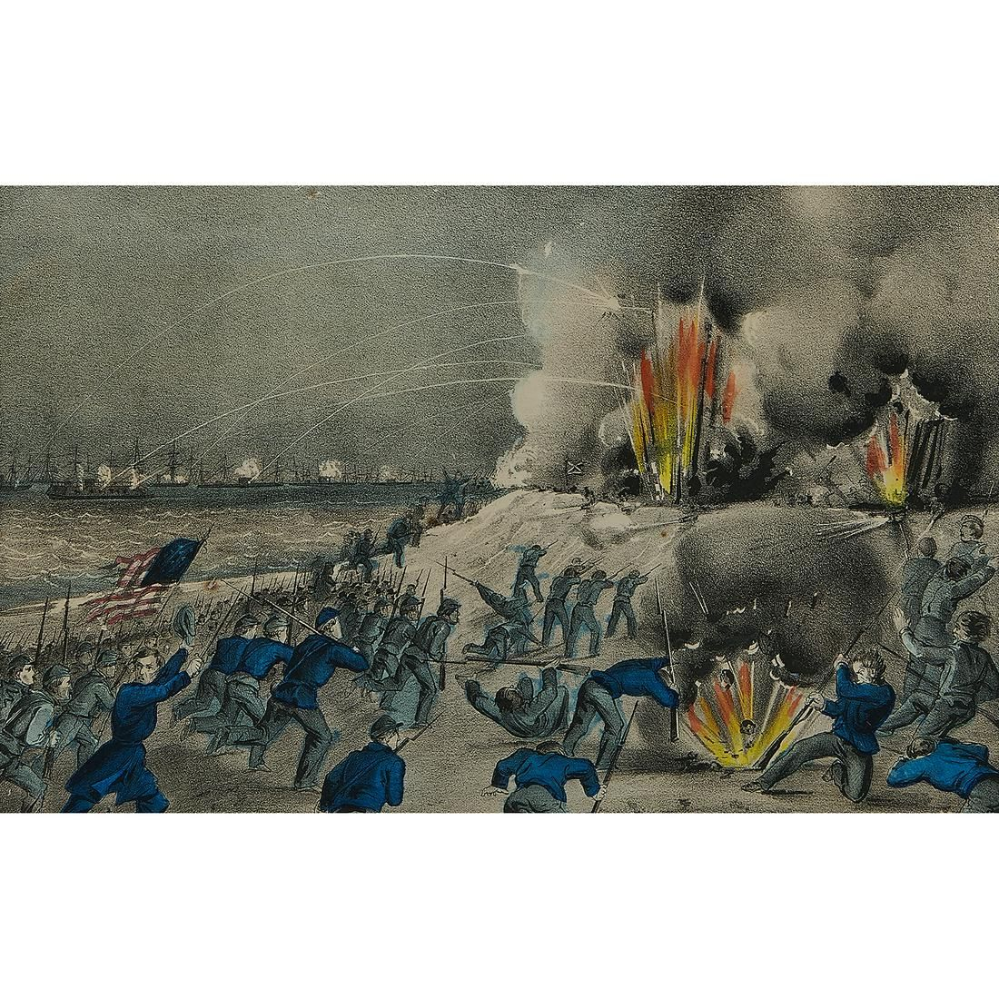 Currier & Ives, The Bombardment, Fort Fisher, N.C