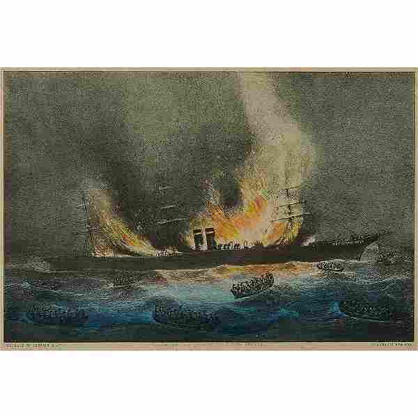 Currier & Ives, Burning of Steam Ship, Montreal