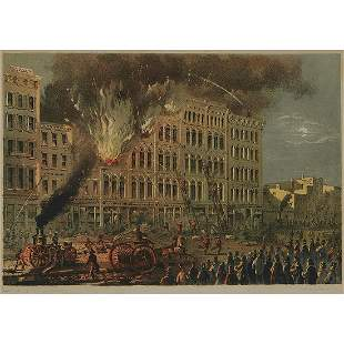 Chicago Lithography Co., Great Fire on Lake St.