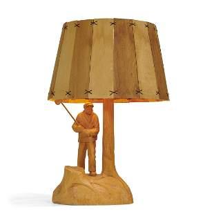 American Folk Art carved woodchopper table lamp